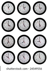 A set of very nice clock pictures from one to twelve o'clock in one hour increments