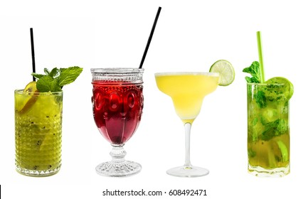 A set of vibrant cocktails, isolated on white, including the classic Margarita and Mojito