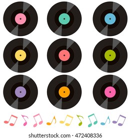 set of vinil records and music notes. Raster version
