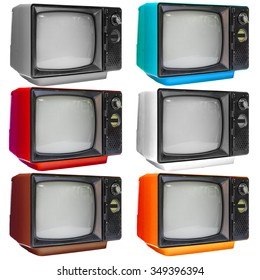 Set of vintage analog television isolated over white background, clipping path.