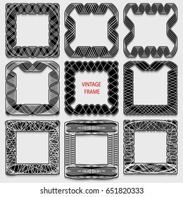 Set of vintage calligraphic frames. Black lines on a white background. Rasterized version