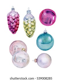 Set of vintage Christmas balls and cones. Watercolor Xmas or New Year decoration