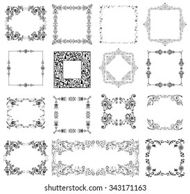 Set of Vintage Christmas and New Year frames. Celebration background with snowflake and place for your text. Vector Illustration
