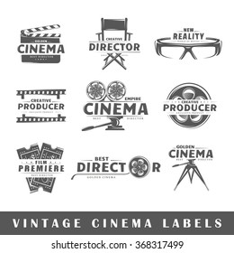 Set of vintage cinema labels. Posters, stamps, banners and design elements