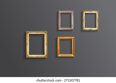 Set of vintage classic picture wood frame