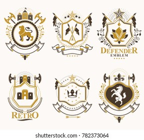 Set of vintage emblems created with decorative elements like crowns, stars, crosses, armory and animals.  Collection of heraldic coat of arms.