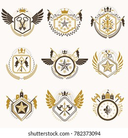 Set of vintage emblems created with decorative elements like crowns, stars, bird wings, armory and animals.  Collection of heraldic coat of arms.
