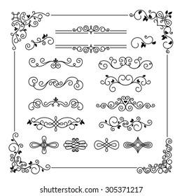 Set of vintage frame border divider corner. Calligraphic decorative elements
