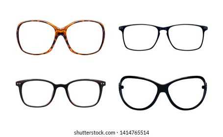 Set of vintage glasses isolated on white background for applying on a portrait.