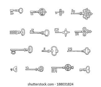 Set of vintage keys.  Doodles.