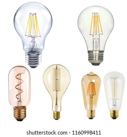 a set of vintage LED Filament lamps., isolated