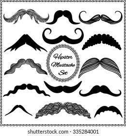 Set of vintage mustaches. Hipster collection.