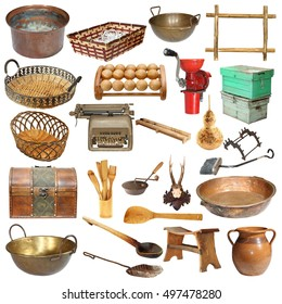 set of vintage objects isolated over white background, ready for your design