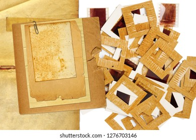 Set of vintage old slides, photos and film on the table