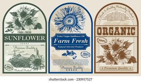 set of vintage paper labels for sunflower oil