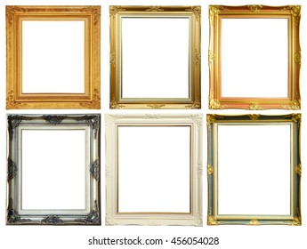 Set of vintage photo frame over white background, clipping path.