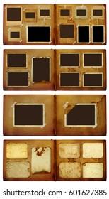 Set of vintage photoalbum for photos on white isolated background
