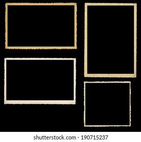 set of vintage photographic frames, knocked out on black background