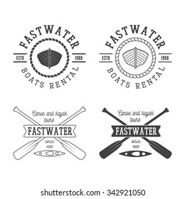 Set of vintage rafting logo, labels and badges. Illustration