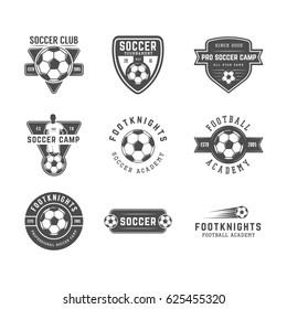 Set of vintage soccer or football logo, emblem, badge. Graphic art. Illustration.