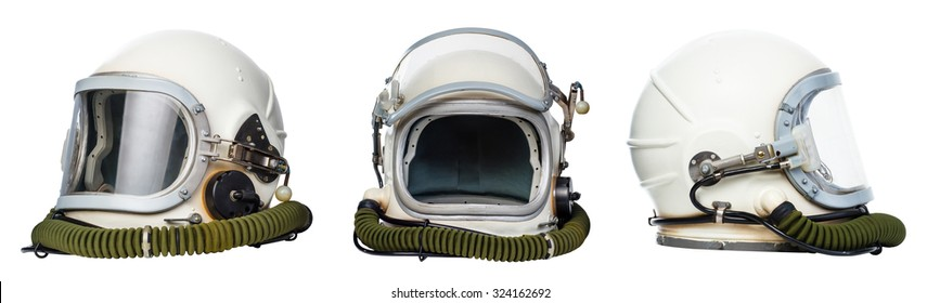 Set of vintage space helmets isolated on white background.
