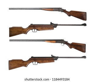 Set of Vintage wooden hunting rifle isolated on white background