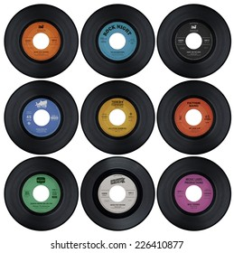 Set of vinyl records with fake labels (1 of 2)