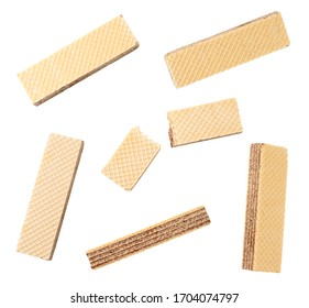 Set of wafers with chocolate on white background. Isolated