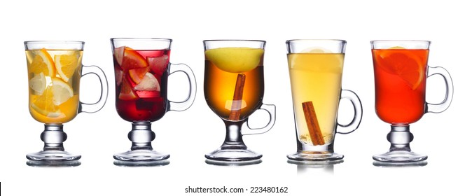 Set of warm christmas cocktails spiced with cinnamon (mulled wine) isolated on white