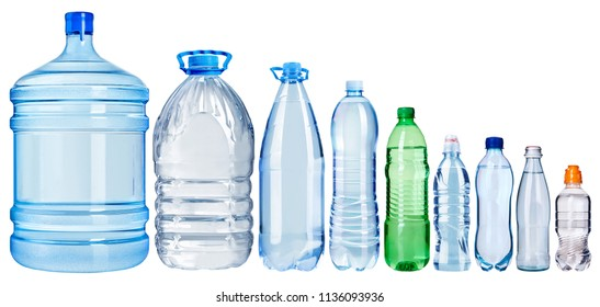 Set  of water bottles isolated on a white background