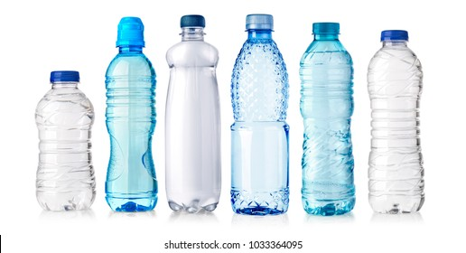 set of water plastic bottle isolated on white background - Shutterstock ID 1033364095