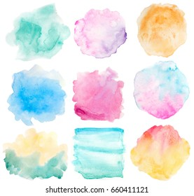 set of watercolor backgrounds on white