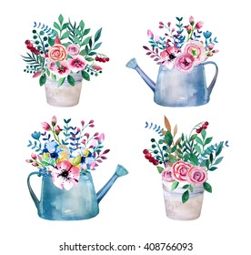 Set of watercolor bouquets . spring flowers in pot. Rustic  outdoor floral set . shabby chic style.  tulip, lavender, gardening  country design. florist, plant decoration.  Isolated white.
