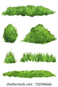 Set of watercolor bushes and chunks of grass on a white background