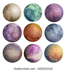 Set of watercolor colorful planets isolated on white background. Watercolour hand drawn abstract planet balls magic art work illustration. Colorful abstract geometric round shape sphere disc disk