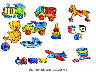 set of watercolor drawing baby toys, cars,bear,horse,ball, cubes, hand drawn illustration