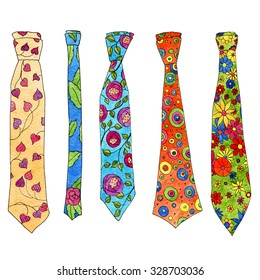 set of watercolor hand drawing colored neckties