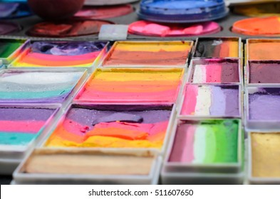 Set of watercolor paints in a box.