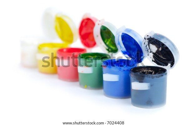Set of the watercolor paints isolated over white background