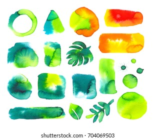 Set of watercolor stains, square shapes. Isolated on white background. Abstract watercolor background. Ink spots. Great for textures and lettering and inscriptions. Green, orange color.