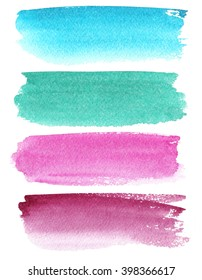 Set of watercolor stripes. Spots on a white background. Watercolor texture. Blue, turquoise, pink, burgundy.