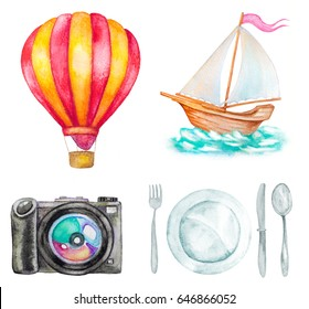 set of watercolor travel icons on white. hot air balloon, camera, plate, fork and knife, sailing boat