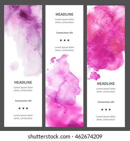 Set of watercolor vertical banners with blot, drop, isolated on white background. Sample text. Hand drawn cards, tickets, flayers, flysheets. Elements for your web design. Bright colors
