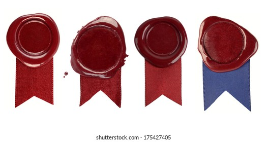 A set of wax seals with ribbons on a white background