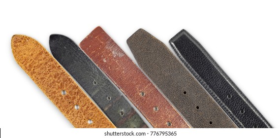 A set of weathered leather belt.