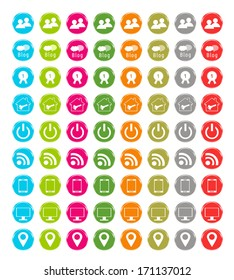 Set of web icons in blue, green, pink, orange, red, gray and gold colors