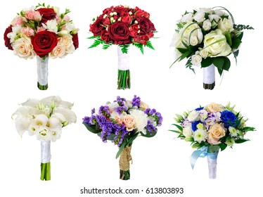 Set of wedding bouquets on white background, bouquet of the bride