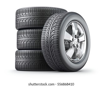 Set of wheels with alloy rims on white background - 3D illustration