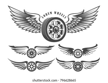 Set of wheels with wings for tattoo or label design isolated on white.