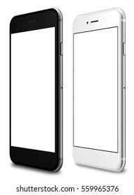 Set of white and black smartphone with a blank screen on a white background. 3d illustration.